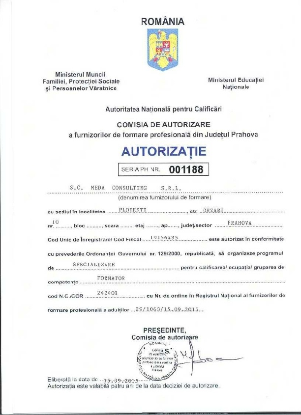 Autorizatie: FORMATOR Cod COR 242401
